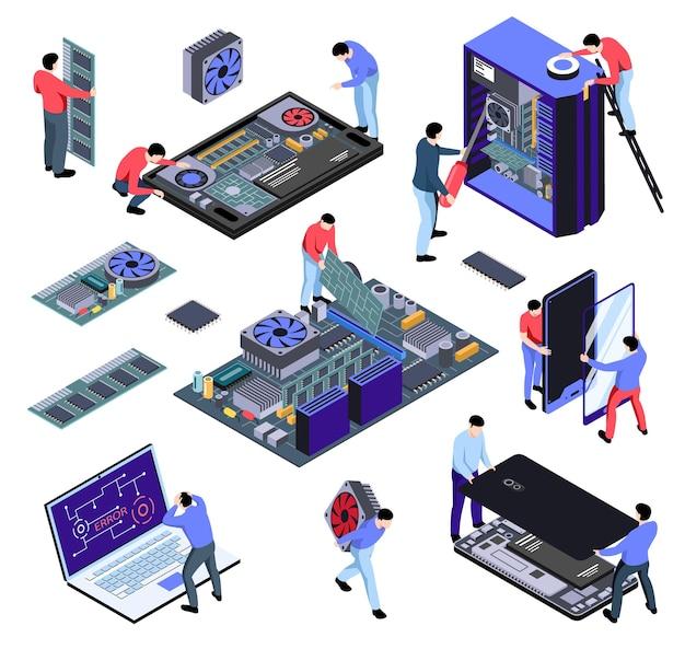 People repairing technology illustration set