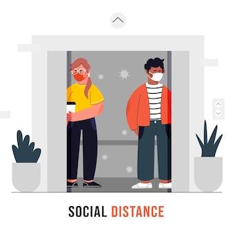 엘리베이터에서 사회적 거리를 존중하는 사람들