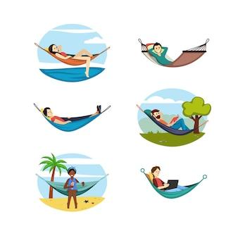사람들은 해먹 세트를 쉬고 있습니다. 편안한 여성과 남성의 열대 해변과 자연 속에서 편안한 수면과 책 읽기를 위한 편안한 스트레치 침대는 자연 환경에서 온라인으로 작동합니다. 만화 벡터입니다.