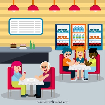 People in restaurant with flat design