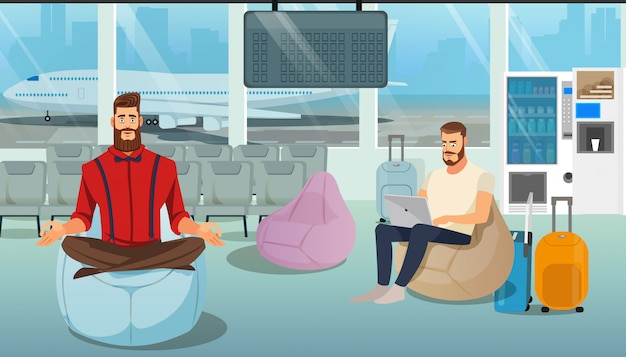 People resting in airport lounge cartoon vector