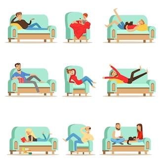 家で休んでいる人は、ソファやアームチェアでリラックスした時間を過ごし、イラストの残りのセット