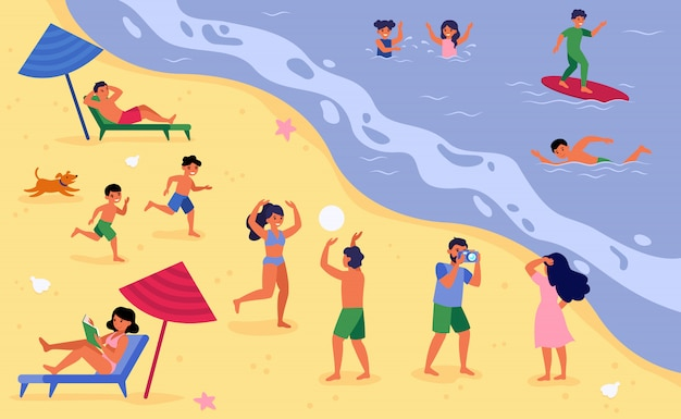 休暇で海のビーチで休んでいる人々