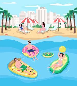 해변 리조트 평면 컬러 일러스트에서 휴식하는 사람들