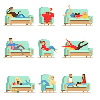People resting at home relaxing on sofa or armchair having lazy free time and rest set of illustrations