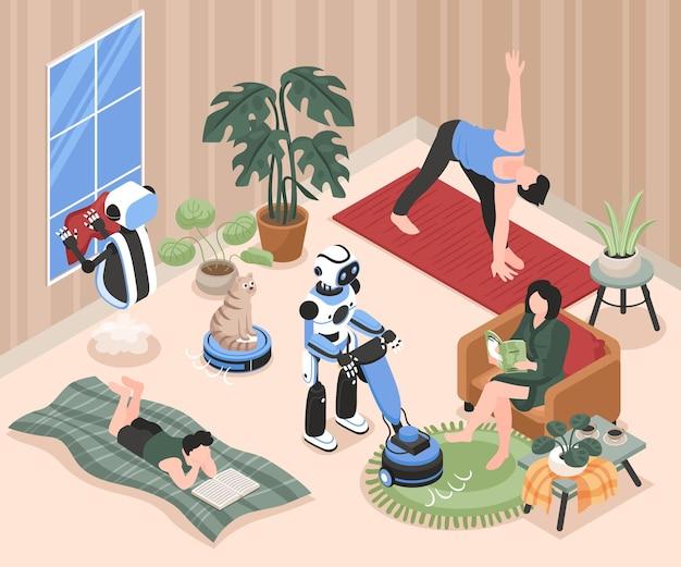 거실에서 쉬고 있는 사람들과 아이소메트릭 일러스트레이션을 청소하는 로봇