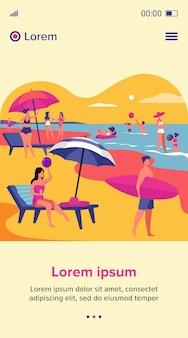 夏に海のビーチで休む人々。傘の下で泳いだり座ったりする女性と男性。ウェブサイトのデザインやウェブページのランディングのための休暇のレジャーの概念