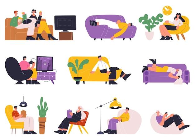 Люди отдыхают, спят, читают книги на диване. молодые женщины и мужчины расслабляются, время на софе или уютном диване векторные иллюстрации набор. персонажи отдыхают дома и мечтают, мужской женский отдых