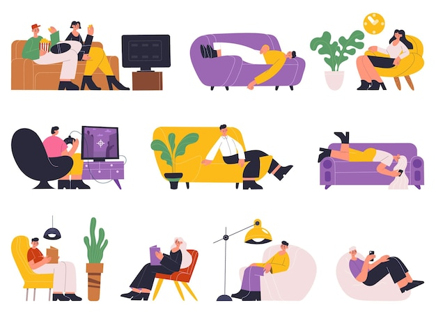 People resting, sleeping, reading books on sofa. young women and men relaxing, time on sofa or cozy couch vector illustration set. characters relaxing at home and dream, male female relaxation