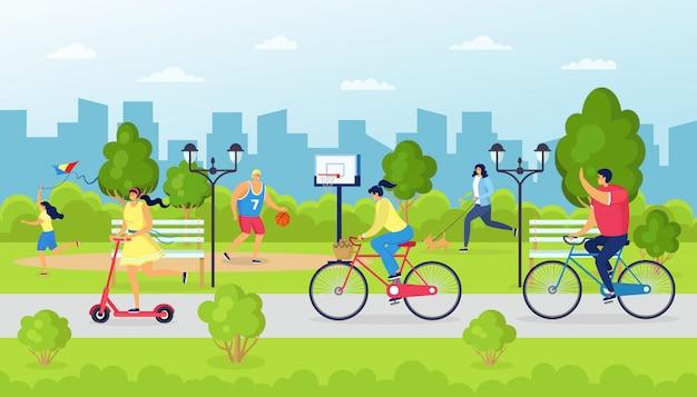 사람들은 공원에서 자전거를 타고, 야외 자연 그림에서 남자 여자. 도시의 건강한 라이프 스타일, 자전거 스포츠 활동이있는 여름 레저. 도시 녹색 풍경에 행복 문자입니다.