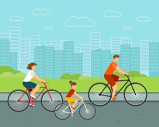 People ride city bike. woman and man on bicycles. caucasian family characters with urban background.