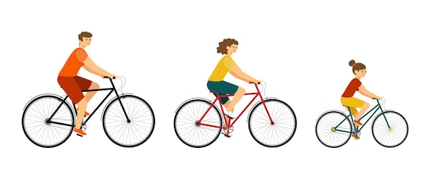People ride city bike. woman and man on bicycles. family characters on white background.