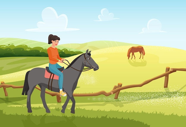 People ride horse in summer rural ranch landscape young woman jockey rider riding horse