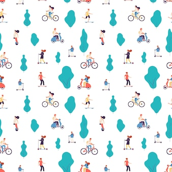People ride. men and women on bicycles, scooters and skateboard, gyroscooter background.