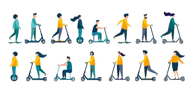 Люди катаются на скутерах. современная иллюстрация. плоский вектор. изолированные на белом фоне.