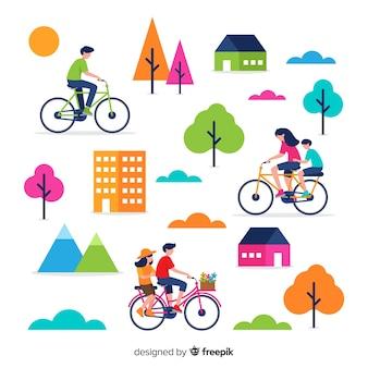 공원 컬렉션에서 자전거를 타는 사람들