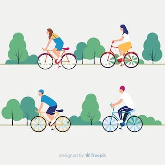 공원에서 자전거를 타는 사람들 무료 벡터