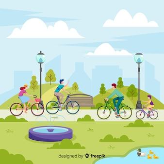 공원에서 자전거를 타는 사람들