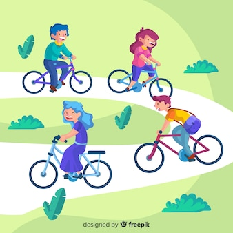 People riding bicycles in the park