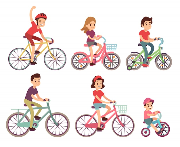 People riding bike. flat cyclist on bicycles set. sport family activity bike illustration