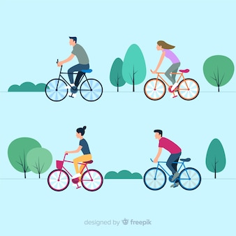 People riding a bike in the park collection
