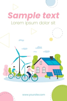풍차와 태양 광 발전소에서 자전거를 타는 사람들