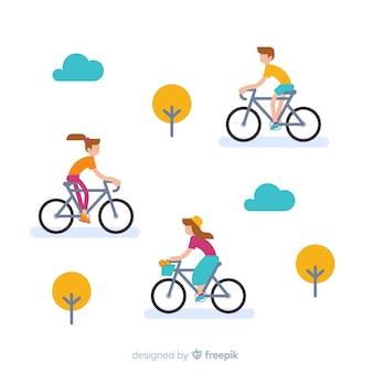 Люди катаются на велосипедах в парке плоского стиля