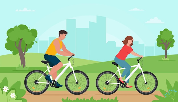 People riding bikes in the park at spring or summer time. man and woman resting doing sports.  illustration in flat style