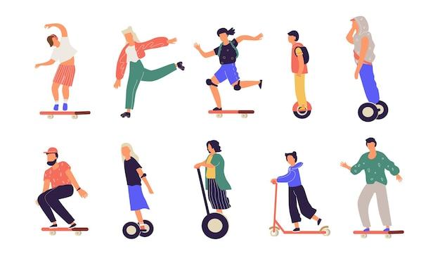 Люди едут. мультяшные персонажи на электрическом скейте, одноколесном велосипеде, лонгборде, моноподе, скутере и гироске. вектор современный городской транспорт.