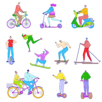 People riding different vehicles, illustration in line art style, bicycle, scooter, ski and skateboard.