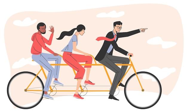 탠덤 자전거를 타는 사람들