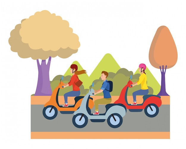 People riding scooters motorcycles cartoon
