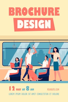 People riding subway train flyer template