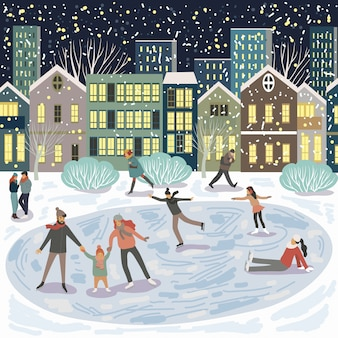 People at the rink, a family on skates against the background of evening city houses.