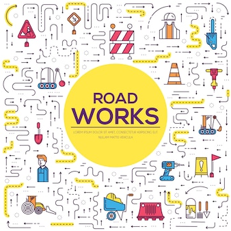 People at road works outline concept