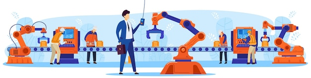 People robot cooperation work flat concept vector illustration. cartoon businessman character working, controlling robotic arm, cyborg cooperating. robotization