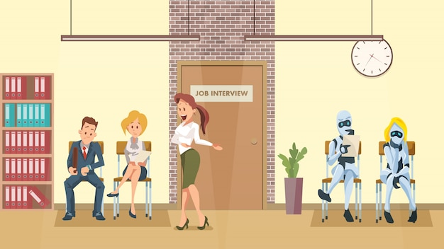 People and robot queue at door in office corridor
