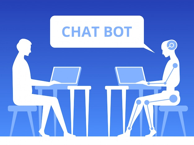 People and robot talking