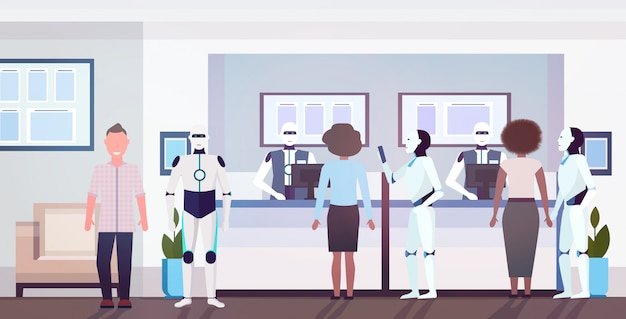 People and robots at counter tellers with robotic clerks artificial intelligence technology concept modern bank client office interior horizontal full length vector illustration