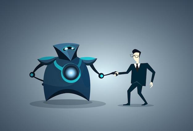 People and robots handshake human