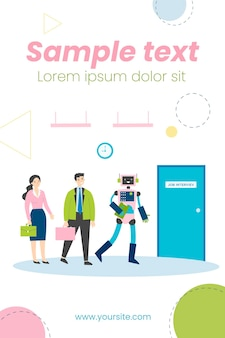People and robots standing in line for interview flat illustration