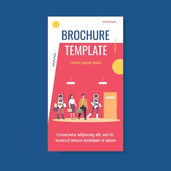 People and robots standing in line for interview flat vector illustration brochure template