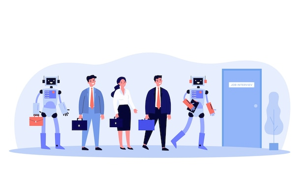 People and robots standing in line for interview   illustration. competition of human characters and androids technology for jobs. employment and recruitment concept