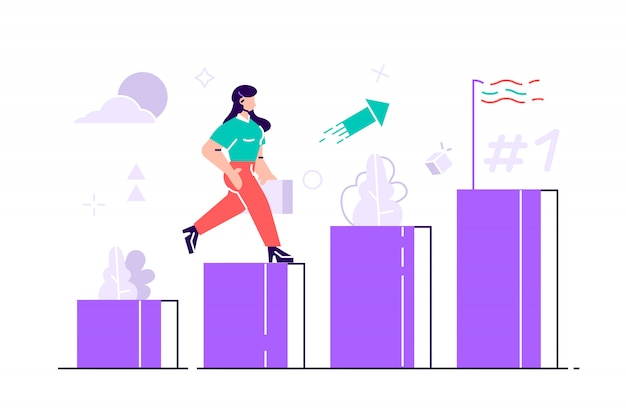 People run to goal on the column of columns illustration. move up motivation.