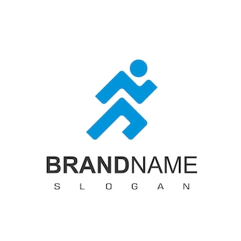 Люди бегут дизайн логотипа вдохновение