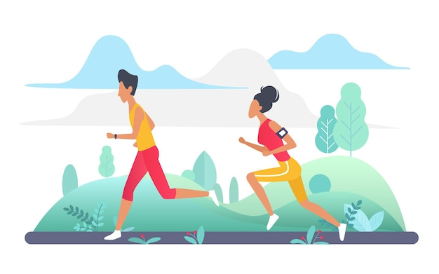 People run in park green landscape jogging outdoor sport workout with woman man runners.