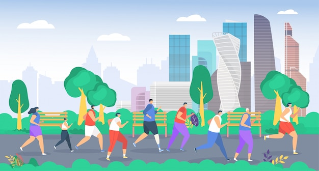 People run in park  illustration, cartoon  group sportsman characters running together, active family or friends jogging marathon