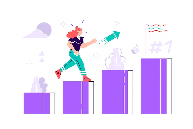 People run to their goal on the column of columns illustration. move up motivation.