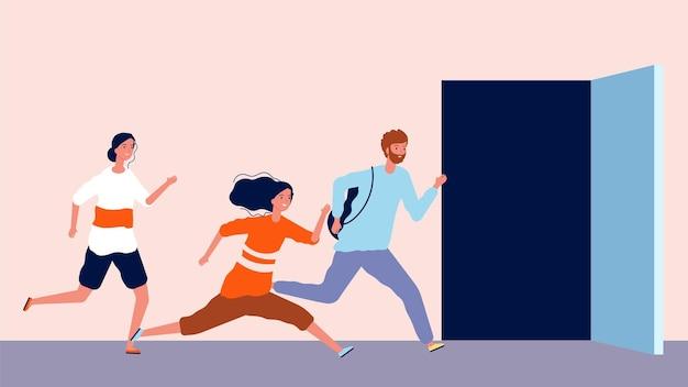 人々はドアを開けるために走ります。遅れて、男性と女性は急いでいます。就業日のイラストの終了または開始。
