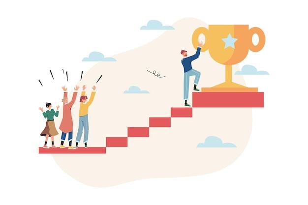사람들은 트로피를 얻기 위해 계단에서 목표를 향해 달려갑니다.